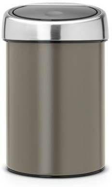 Brabantia Prullenbak Goedkoop.Brabantia Wandafvalemmertje 3 Liter Touch Bin Met Kunststof Binnenemmer En Matt Steel Deksel Metallic Mint 364402